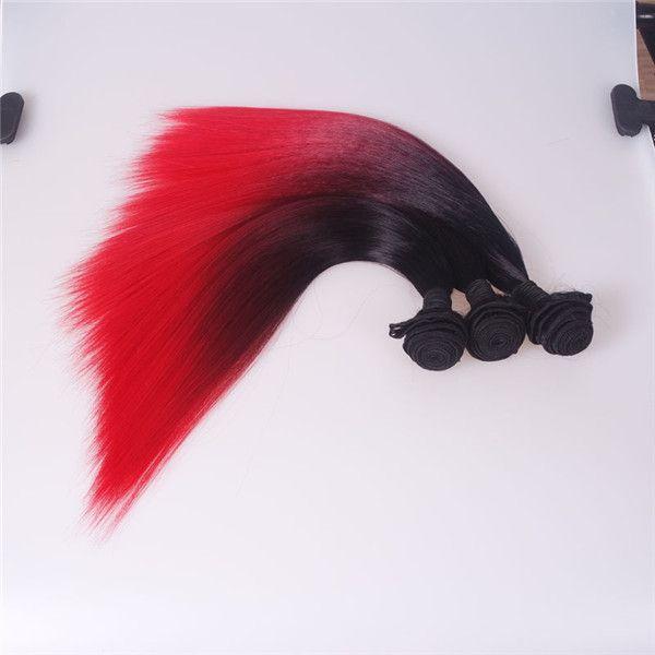 Extensión brillante cosida sedosa del pelo sintético de dos tonos Ombre, 18 20 22 '' paquete de armadura sintética del pelo, trama resistente al calor del pelo de la fibra