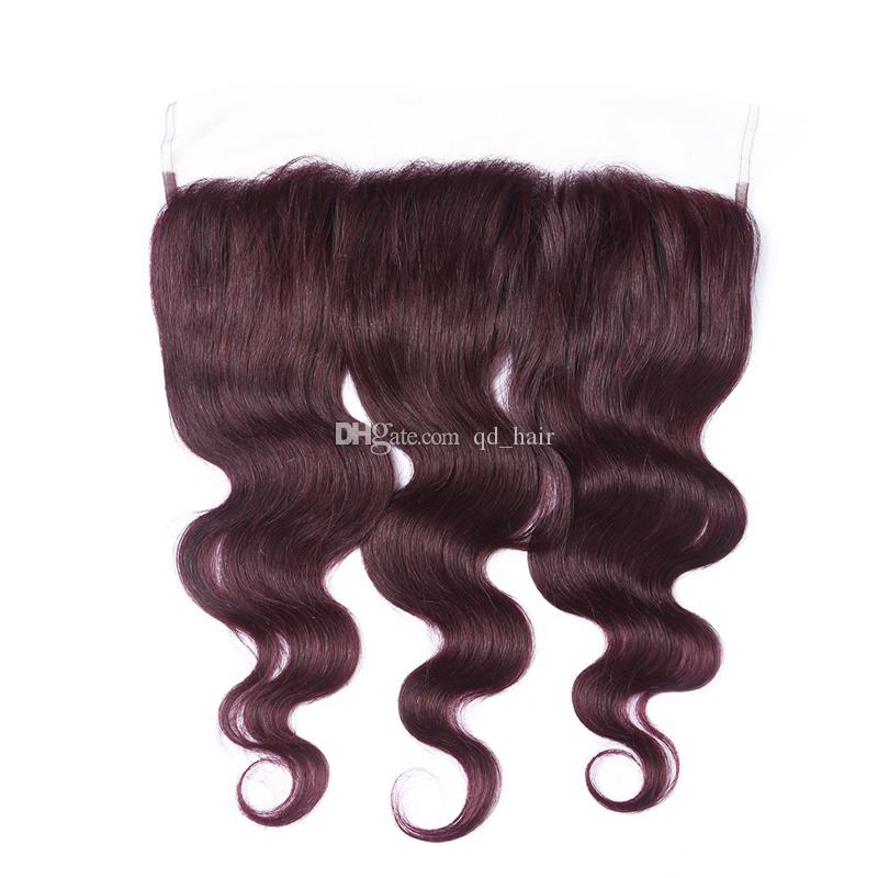 Dark Wine red 99J Body Wave Hair 3 Bundles With Lace Frontal 13x4 Unprocessed Burgundy Human Hair Bundles With Lace Frontal