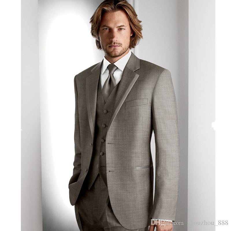 Men's cultivate one's morality suit bespoke light gray for man lean man wedding dress suit jacket + pants + vest, tie
