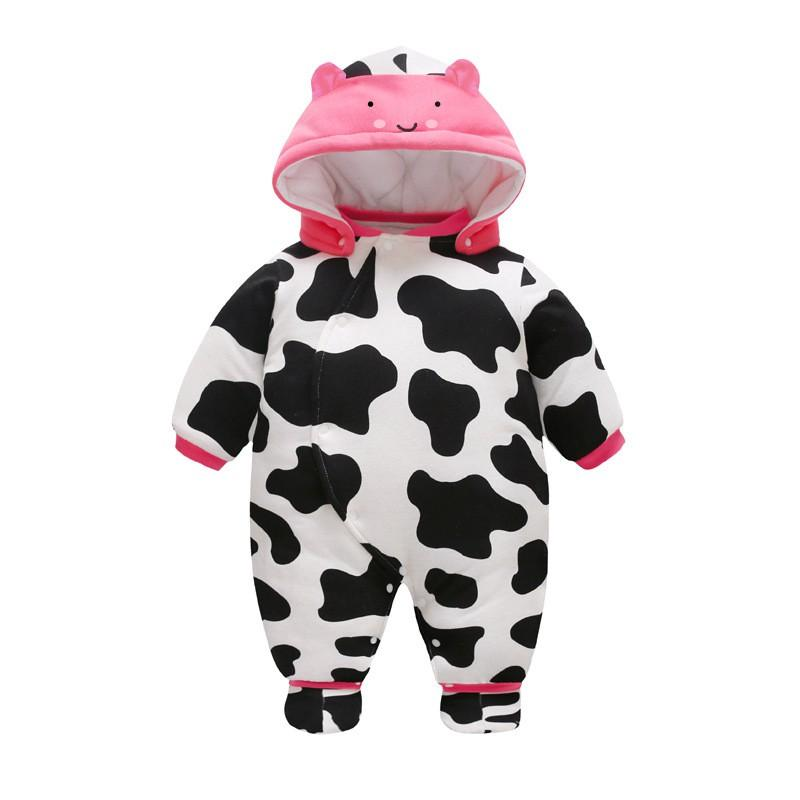 de600bd42 59-80cm Cute Cow Baby Rompers Winter Thick Warm Baby Boy Clothing ...