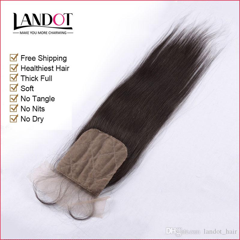 Brazilian Straight Silk Base Closures Malaysian Peruvian Indian Cambodian Virgin Human Hair Lace Closure Free/Middle/3 Way Part Closures