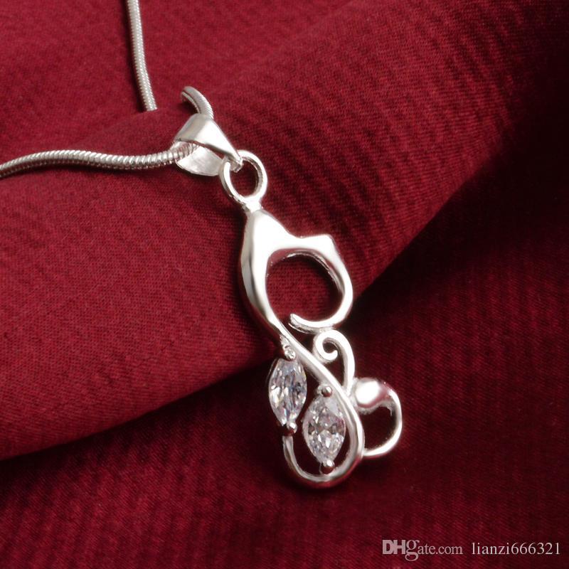 Gatto di argento 925 di alta qualità di modo libero di trasporto con i monili bianchi del diamante 925 collana d'argento dei regali di festa di San Valentino Hot 1687