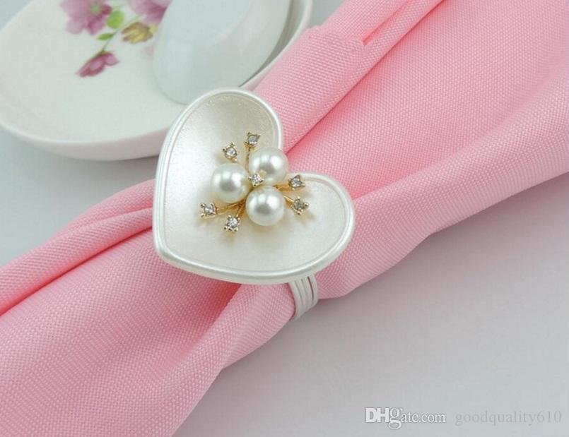 ABS Heart Crystal&pearls Stamen Flower Napkin ring Serviette Buckle Holder Hotel Wedding Party Favour Decor