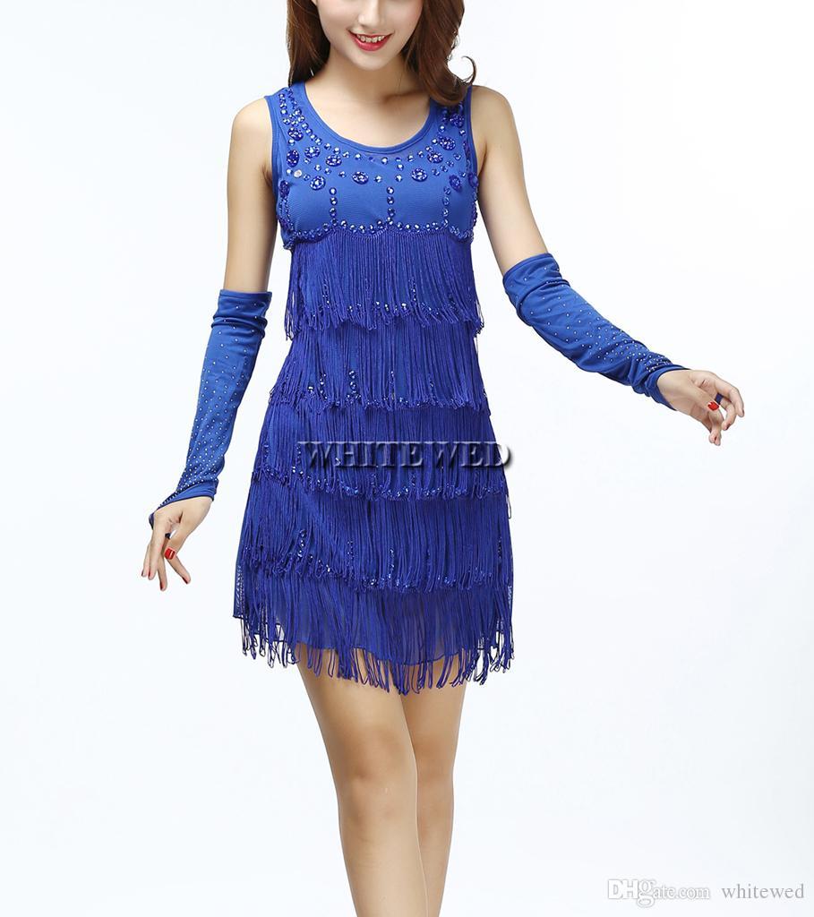 Acquista Ruggenti Anni 20 1920s Senza Spalline Nappa Frangia In Rilievo  Vintage Gatsby Prom Flapper Style Dress Abbigliamento O Costumi Nero Viola  Rosso Blu ... 5691d5999bb