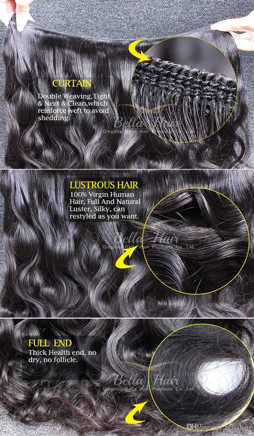 Bellahair Brasilianska hårförlängningar Obehandlade Human Virgin HairWeft Indian Malaysian Peruvian Double Weft Body Wave Hairbundles