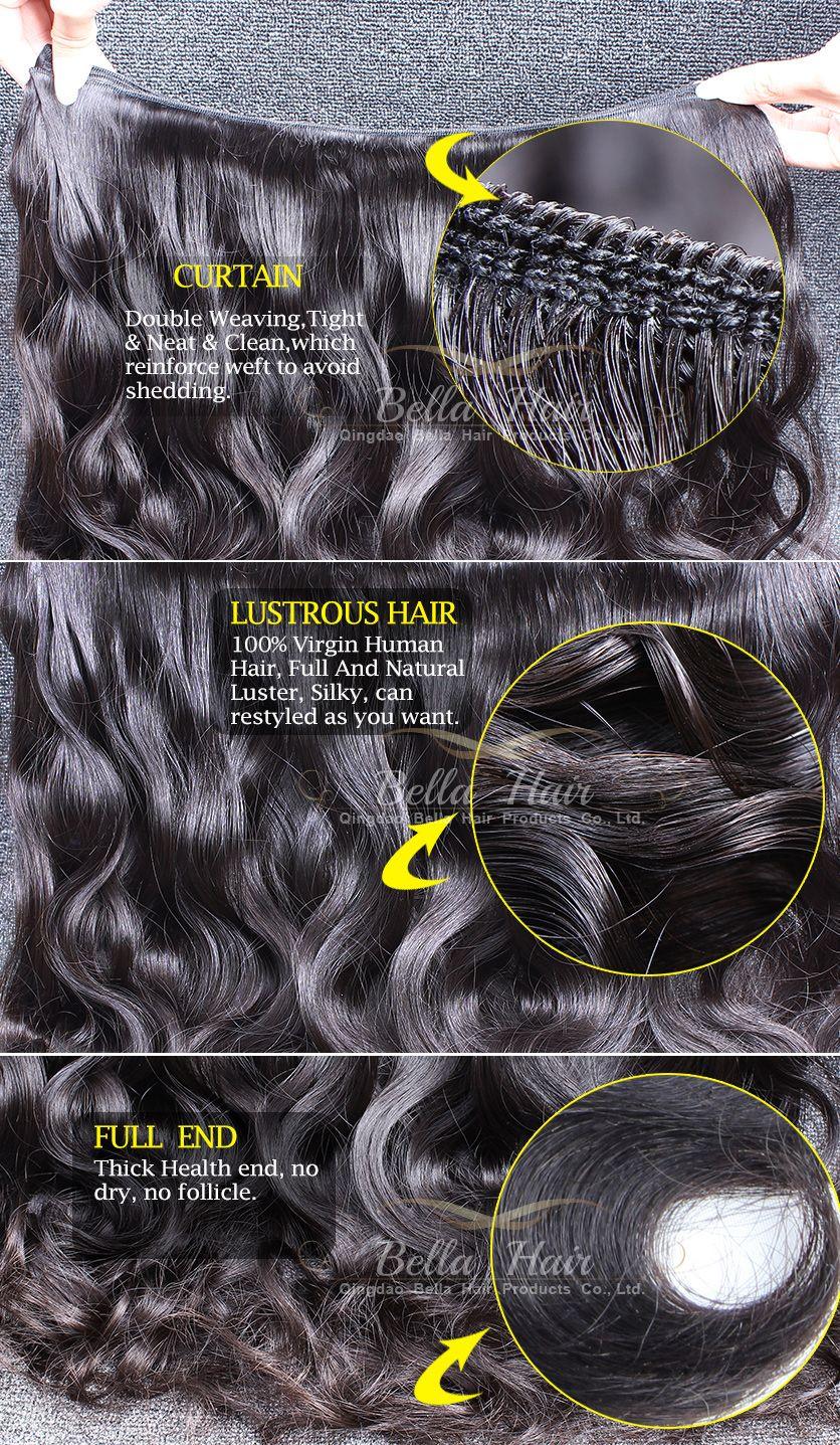 Bellashair Brasileño Extensiones para el cabello sin procesar Human Virgin Hair Trama India Malasia Peruana 3 unids Doble trama Body Wave Bundles