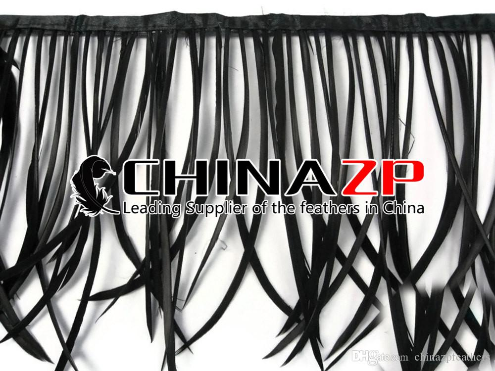 CHINAZP Crafts Factory 10yards15~20cm6~8inch in Width Graceful Dyed Black Stripped Goose Biot Feather Trim for DIY Decoration