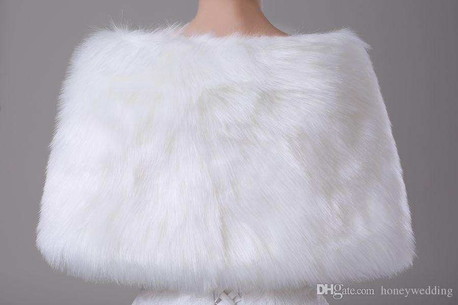 2016 Faux Fur Bridal Okładki Kurtki Bolero Stole Wieczór Zima Prom Ślub Płaty Capes Szampan Czerwony Biały Ivory Tanie Akcesoria