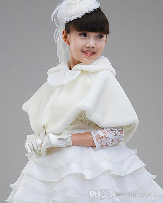 MOQ = crianças vestido acessórios princesa boleros de pele flor xales Poncho da menina capa criança kid clothing 2 cores rosa frete grátis