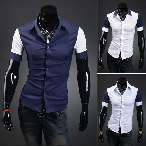 0ea7203b 2019 2015 Summer Fashion Casual Shirt Design Blue White Fresh Color Short  Length Men Fashion Designer Stylish Casual Slim Fit Shirt From Pandolah, ...