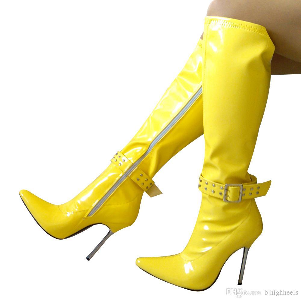 12cm haute taille bottes de sexe femmes bottes pointues talon aiguille à hauteur du genou bottes en métal talon noLC 161