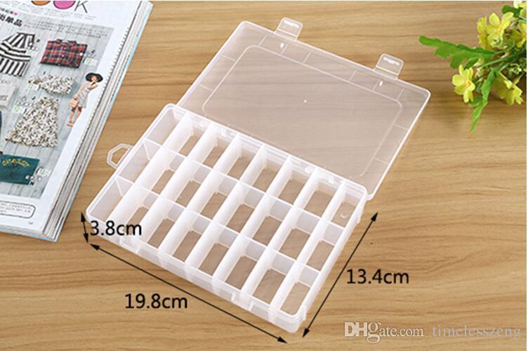 Nuovo organizzatore New Practical Regolabile in plastica 24 Vano portaoggetti Caso Bead Rings Jewelry Display Box Organizer