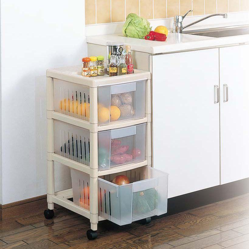 Freeshipping Glove Storage Rack Plastic Fruit And Vegetable Storage Rack  Finishing Rack Shelf Belt Wheel