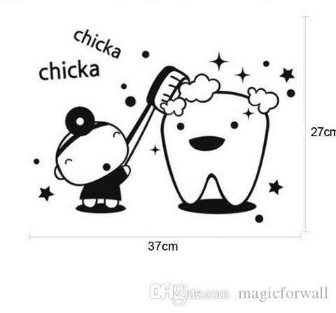 Chicka Chicka Brush Your TEETH PVC Removable Bathroom Decal Art DIY Wall Sticker Home Decor Instant Home Decor Wall Sticker Decal