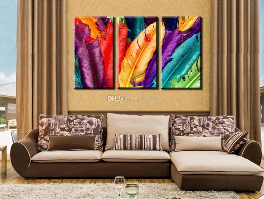 3 PanelsHD Fresh Look Colorful Feather Canvas Printing Modern Unframed Art Picture for Living Room Bedroom