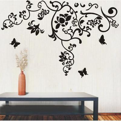 Large Size Black Flowers Rattan Butterfly Wall Art Mural Decor Living Room  Fashion Creative Wallpaper Decal Poster 100 X 160cm Vinyl Wall Vinyl Wall  Art ...