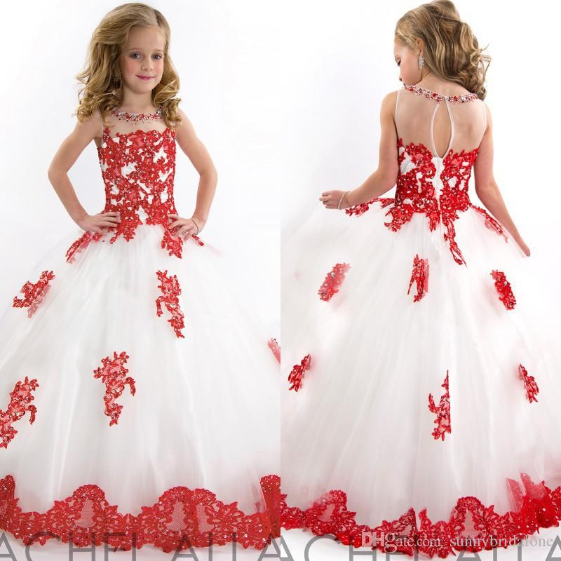 White And Red Girls Pageant Dresses Beautiful Beads Appliqued Full ...