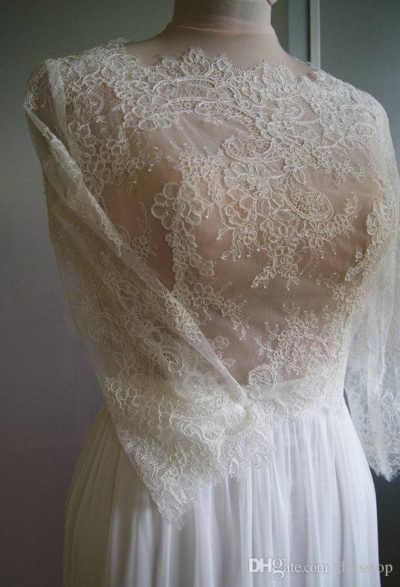 Yarım Kollu Ekip Boyun Çizgisi Ile sıcak Satış Dantel Gelin Ceketler Bolero Ceket Düğmeleri Geri Düğün Sarar Pelerinler Gelin Aksesuarları