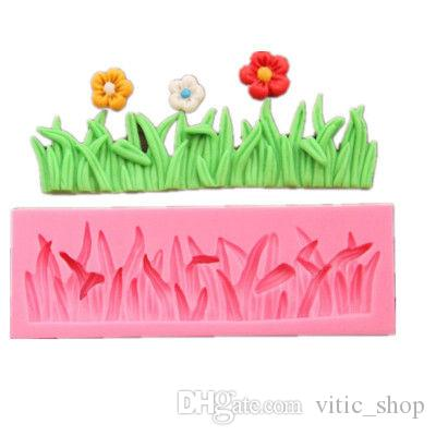 Cake Mold Silicone Green Grass pink chocolate mold 3D Fondant tool DIY Baking Tools plant Sugar Mold Wedding Cake Tool Soap Molds CMP18