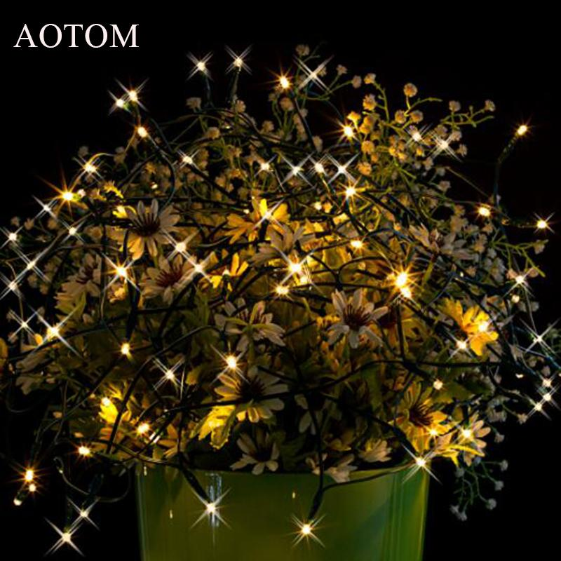 wholesale aotom 15m 100 led solar power string lights christmas lights lighting for outdoor waterproof lights warm white white led string lights led fairy