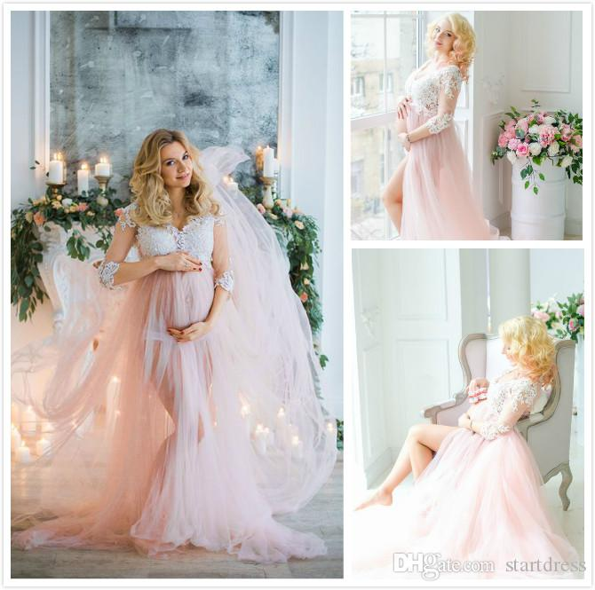 Discount Special Pink Maternity Wedding Dresses Sexy V Neck Tulle ...
