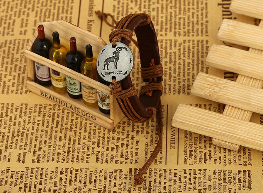 HOT - 12 zodiac couple twine weaving handmade genuine leather bracelet small jewelry Europe and the United States