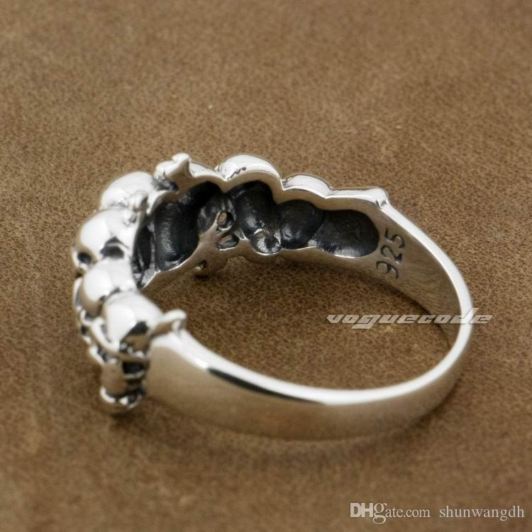 925 Sterling Silver Skull Mens Biker Rocker Punk Ring 8Y013A US Size 7.25~11