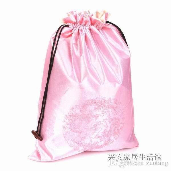 Borduurwerk Dragon Travel Bra Opslag Lingerie Tas Trekkoord Chinese Etnische Zijde Schoen Cover Opslag Verpakking Pouch Gratis verzending