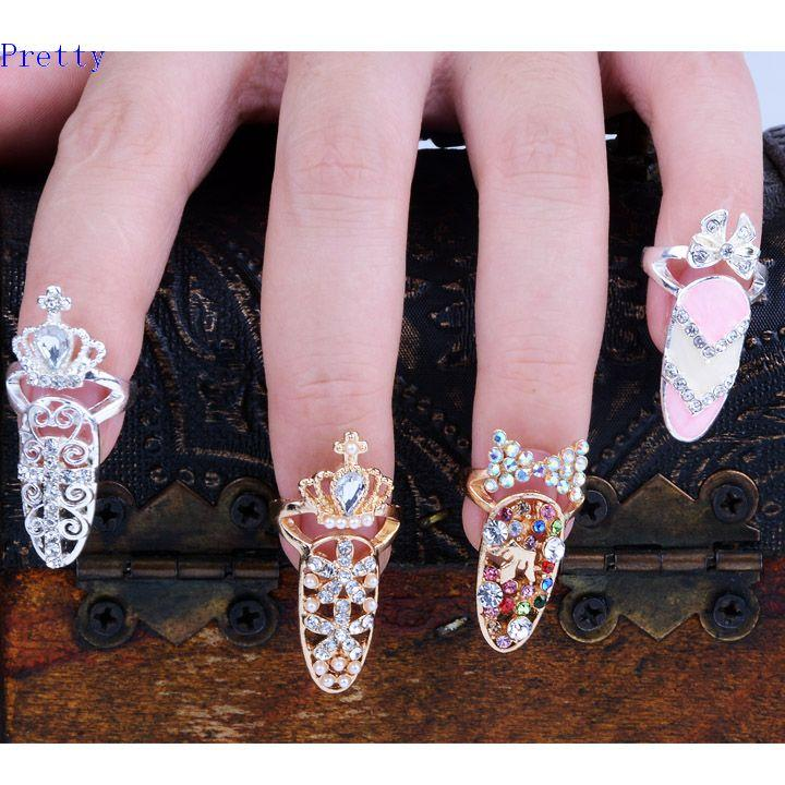 4 Types Bowknot Crown Crystal Finger Nail Sets Jewellery Finger ...