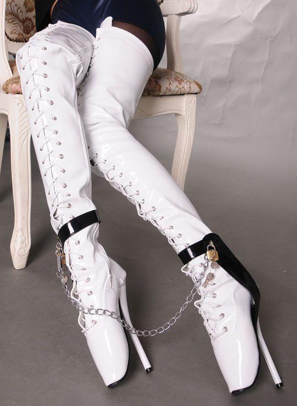 Wonderheel Extreme 18cm stiletto heel over knee ballet boots thigh high boots SEX fetish high heel BDSM locked padlocks lace up crotch boots