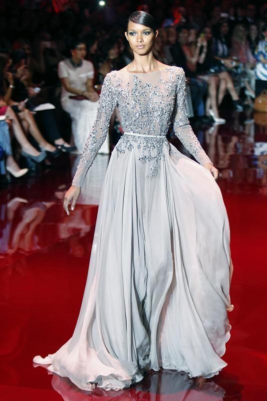 Elie Saab Perlen Chiffon Lange Ballkleider A-Linie Backless Langarm Abend Party Kleider Pailletten Kristall Sheer Neck Celebrity Dresses