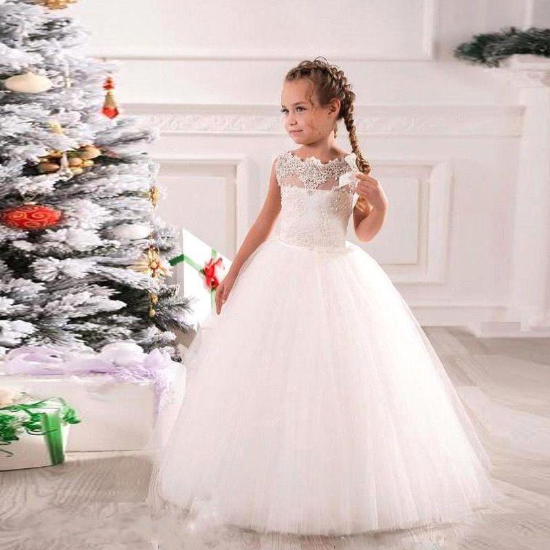 6f515c1de4b Stunning Soft Tulle Flower Girl Dress A Line Illusion Bateau Neckline  Vintage Lace Appliques Floor Length Little Bride Wedding Party Dresses  Toddler Dresses ...