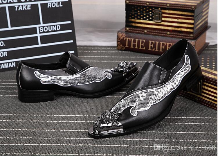 New Handmade Shoes Men Bling Bling Glitter Dress Shoes Fashion Genuine Leather Slip-On Wedding Shoes Plus Size 38-46