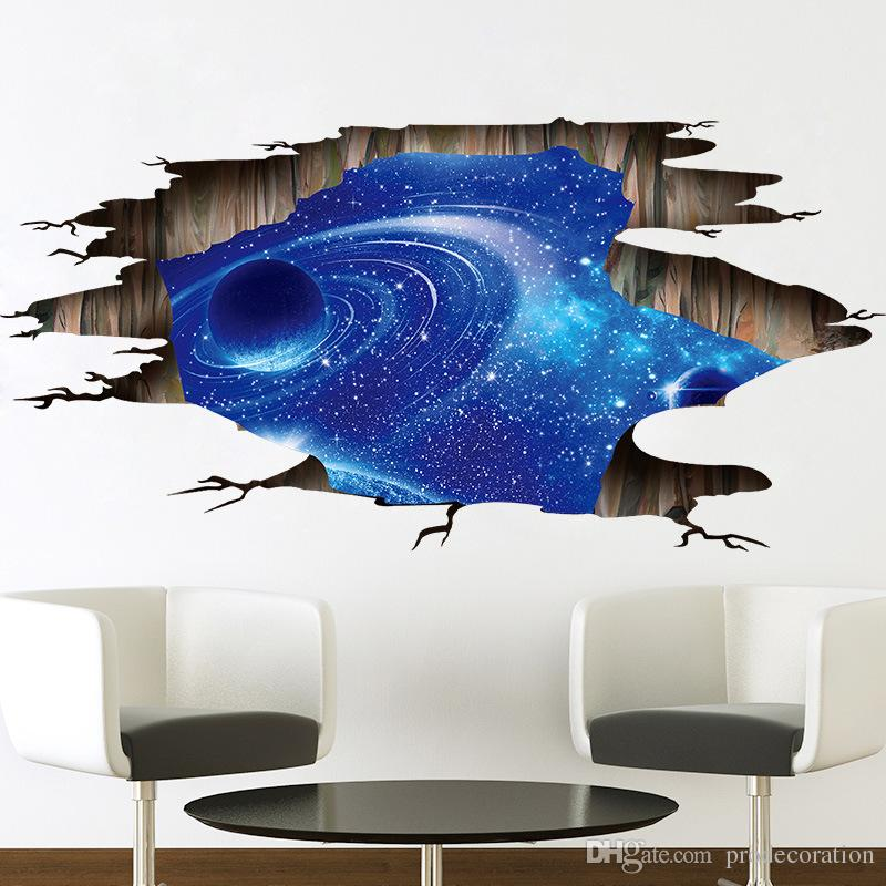 new fashion outer space planets 3d wall stickers cosmic galaxy wall