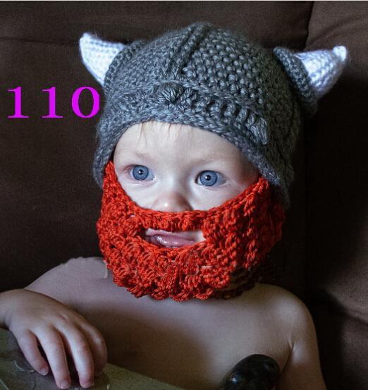 Handmade Crochet Knitted Hat Newborn Cartoon Vikings Horn Winter