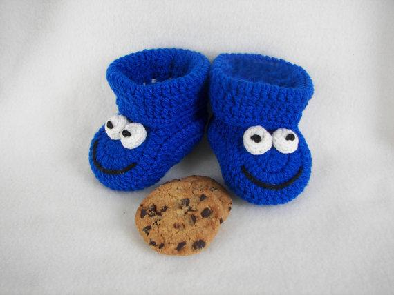 Baby Booties, Cookie Monster, Royal Blue recién nacido a 6 meses finamente terminado Crochet 2015 Fashion Handmade Crochet primer bebé zapatos para caminar