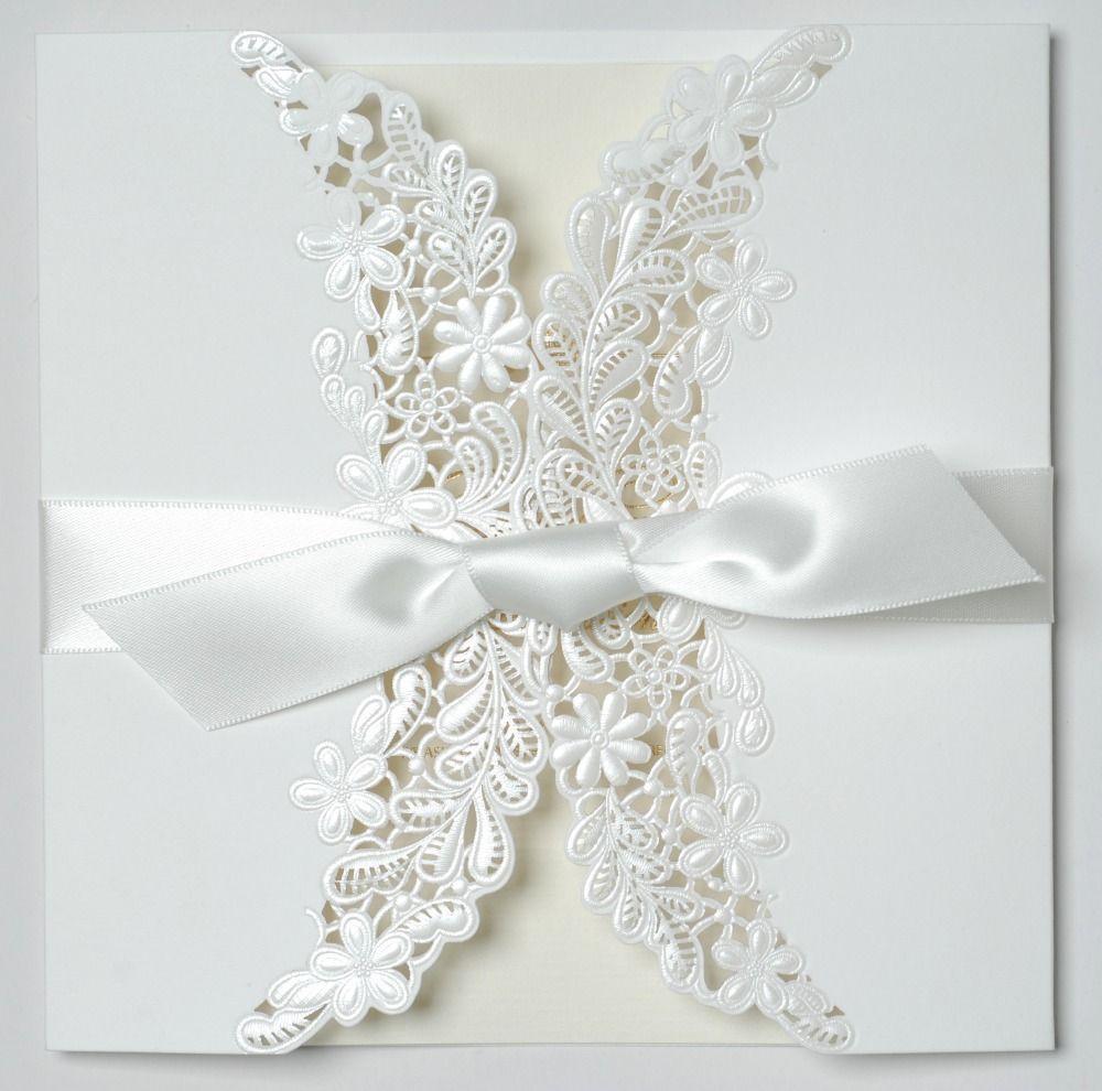 2018 Elegant White Lace Laser Cut Wedding Invitation With Ribbon ...