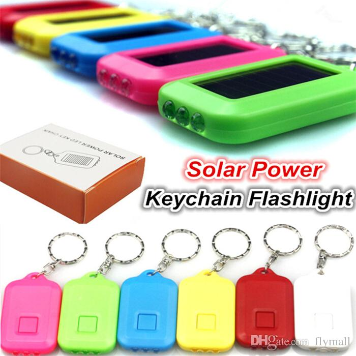 Cute Model Solar Power Keychain LED Flashlight Light Lamp Mini Key Chain 3 LED Multi-color Rechargeable Key Chain Flashlights