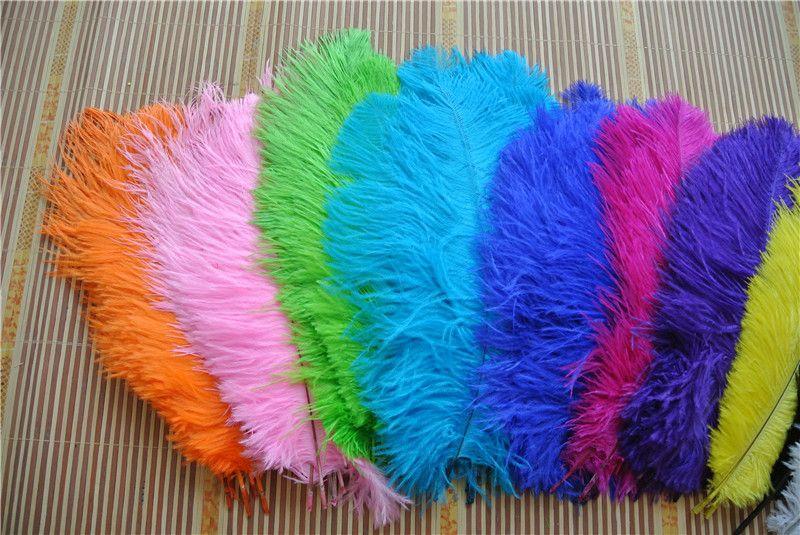 Venta al por mayor 100 pzas 12-14 pulgadas blanco naranja negro rosa fuerte amarillo azul real turquesa verde limón púrpura pluma de avestruz de oro plumas