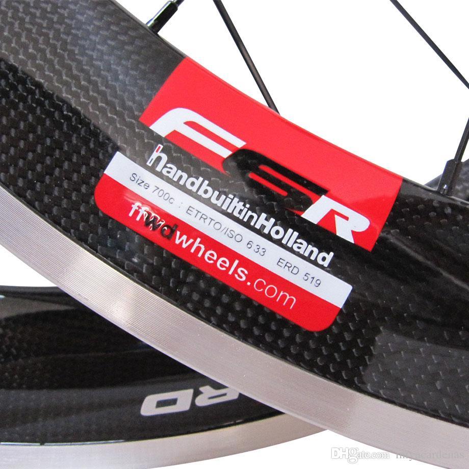 أحمر FFWD F6R 60MM ألياف الكربون الطريق دراجة سبائك الفرامل سواتي العجلات F5R الكربون الألومنيوم الطريق دراجة عجلات العجلات