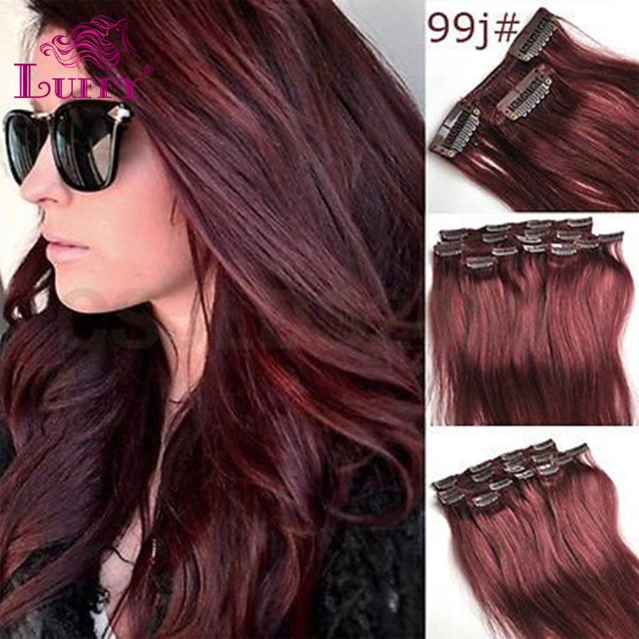 Luffy hair 10 24 inch 70gstraight remy clips in virgin human hair luffy hair 10 24 inch 70g7pcs straight remy clips in virgin human hair extension color 99j highlight clipin extensions pmusecretfo Image collections