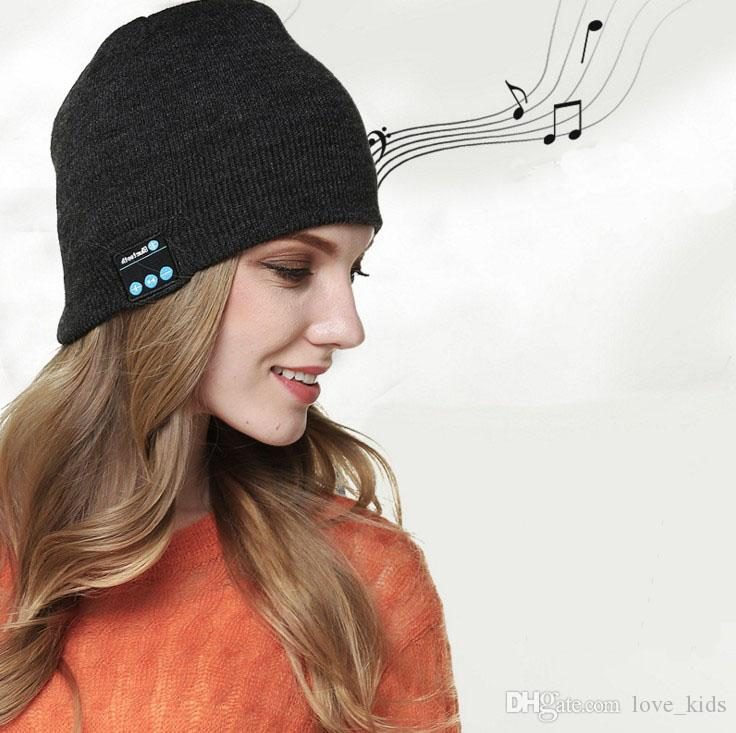 Mode drahtlose bluetooth kopfhörer headset kopfhörer hut lautsprecher gestrickte beanie hut cap winter warm laufkappe 6 farben