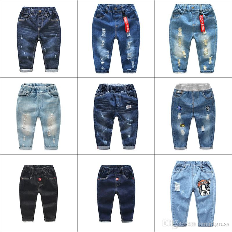 f3c6038f Fashion Hole Denim Toddler Pants Wholesales Hottest Girl Boys Ripped Jeans  Elastic Waistband Full Length Baby Pants 17102903 Jeans For Children Jeans  For ...