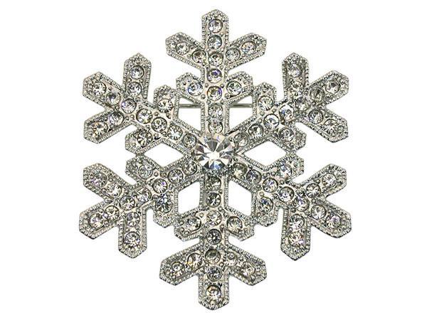 2 بوصة حجر الراين كريستال الماس ندفة الثلج بروش فضية لهجة الحرة الشحن