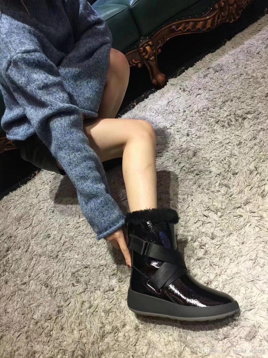Woman's 2017 hot sell new winter warm leather platform shoes female Muffin Cross strap sheepskin Half snow boots