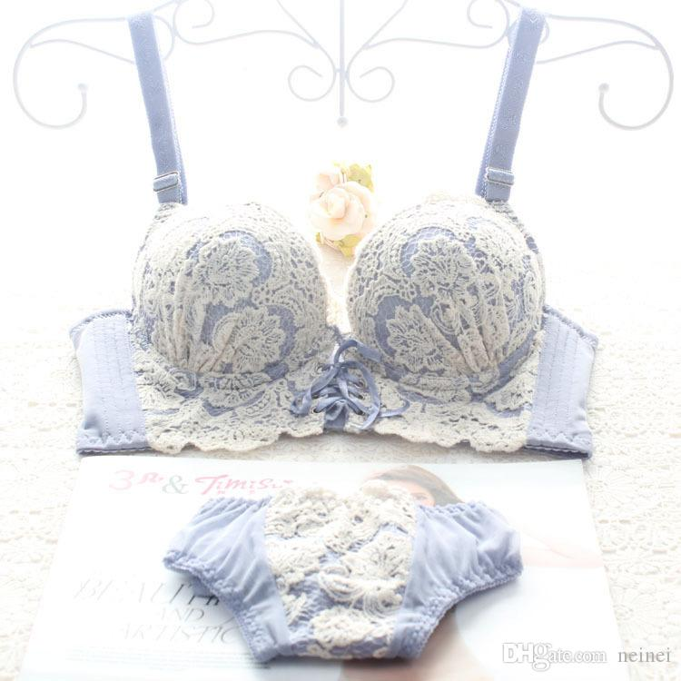 ab6cad06c5 2019 Japanese Luxury New Deep V New Brand Sexy Push Up Bra Set Floral  Embroidery Lace Women Underwear Set Bra And Panties Sets From Neinei