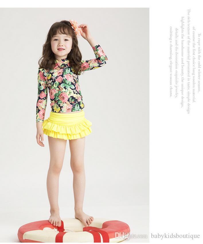 2020 새로운 여자 수영복 패션 귀여운 어린이 인쇄 꽃 긴 소매 얇은 명주 그물 수영복 어린이 수영 의류