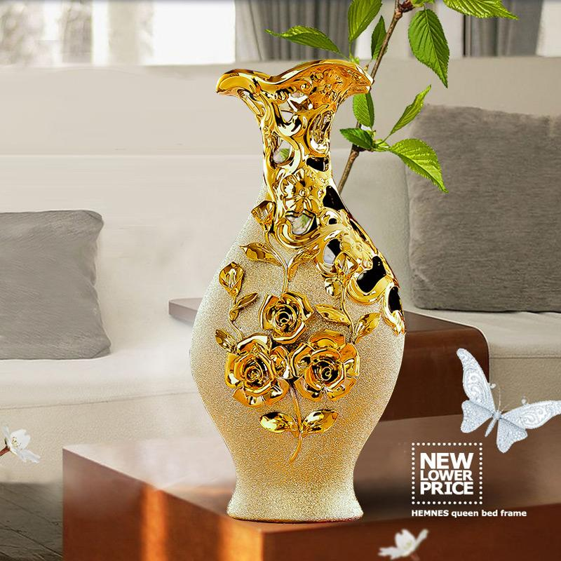 High Quality Jingdezhen Ceramic Gold Plating Vase For Home Decor Abstract Morden Euro Style