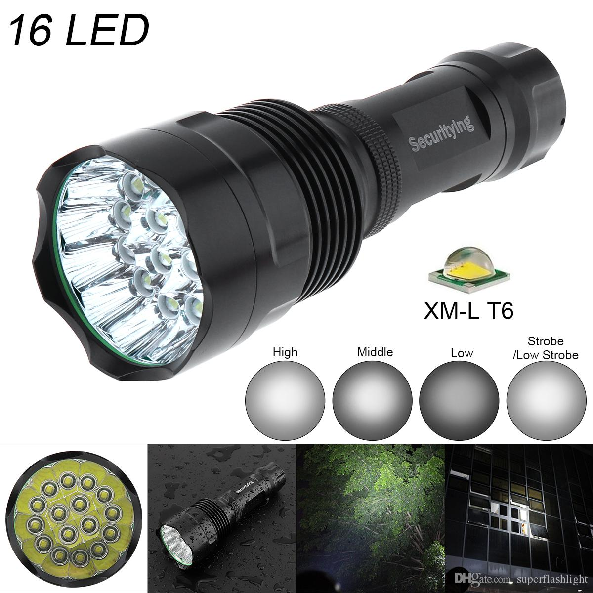 SecurityIng Super Bright 16x XM-L T6 LED 5400Lumens Waterproof Flashlight Torch 5 Modes Support 18650 Rechargeable Battery LEF_S0V