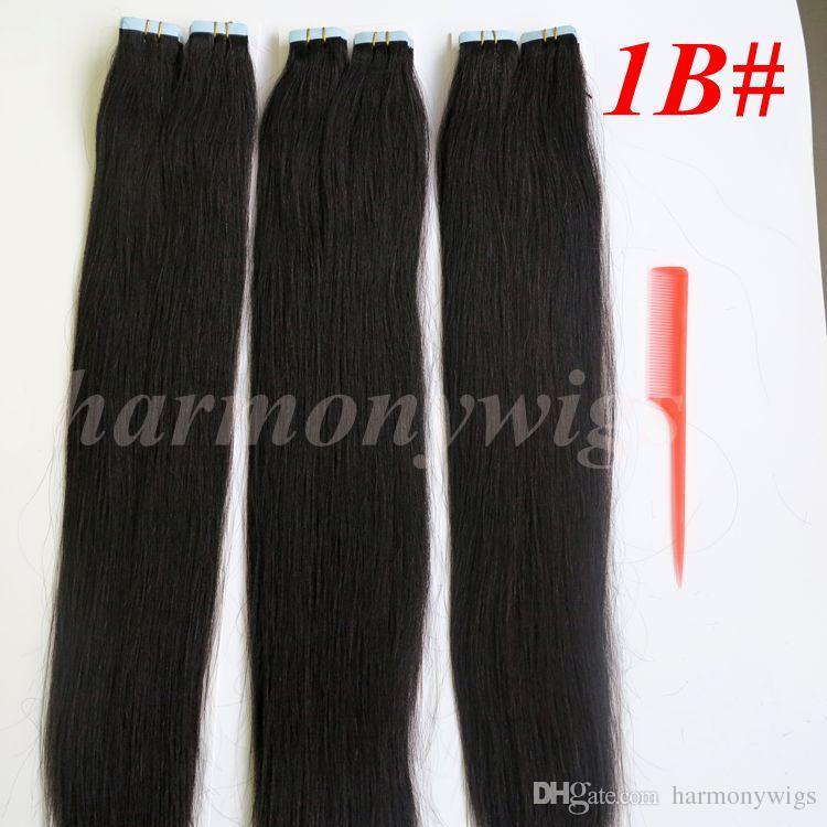 50g 20 pçs / pacote de cola de pele de trama de pele PU fita em extensões de cabelo humano 18 20 22 24 polegadas extensão de cabelo indiano brasileiro